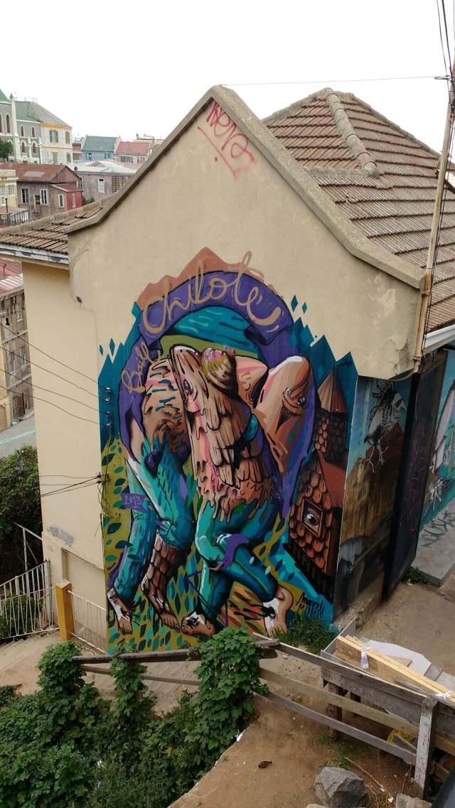 Valparaiso - street art graffiti - Daniel Marceli - Chile